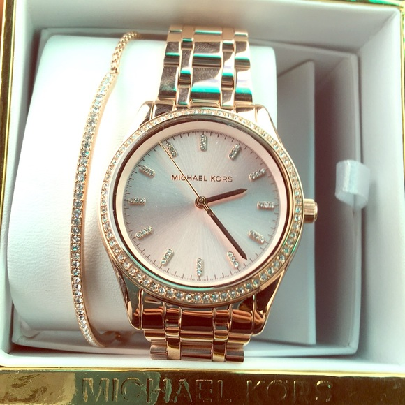 Michael Kors Accessories Kiley Rose Gold Tone Watch And Bracelet